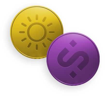 Social Impact Network- Image of a two platform native tokens-Sunny token and SI token.